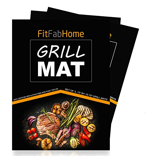 FitFabHome 3 Pack Premium Grill Mats | 100% Certified BPA & PFOA Free | Reusable,Non-Stick Teflon | for Gas, Charcoal, Electric, Smokers | Works as Baking Mat, Pan Liner
