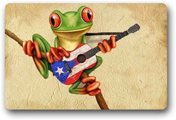 SPXUBZ Special Design Tree Frog Playing Puerto Rico Flag Guitar Cheapest Non Slip Entrance Rug Outdoor Indoor Dirt Buster Durable And Waterproof Machine Washable Door Mat Size 23 6x15 7 Inch