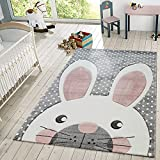 TT Home Alfombra Infantil De Juego Moderna Conejo Tonos Pastel En Beige Gris Rosa, Größe:80x150 cm
