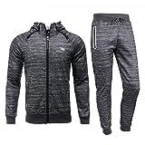 Airavata Homme Ensemble Pantalon de Sport Sweatshirt à capuche Jogging Survêtement - Gris6 - Small