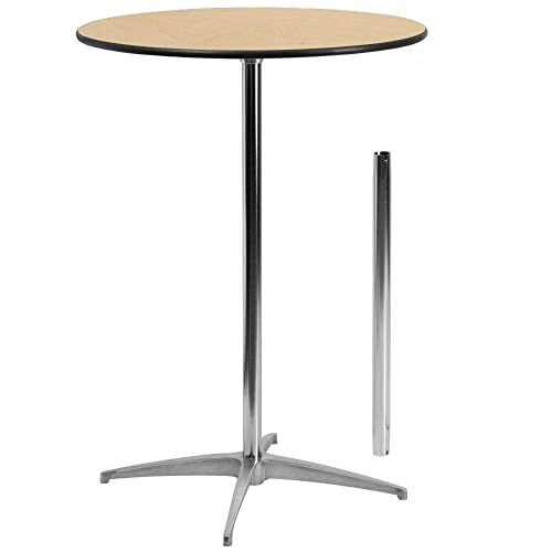 Flash Furniture 30'' Round Wood Cocktail Table with 30'' and 42'' Columns -