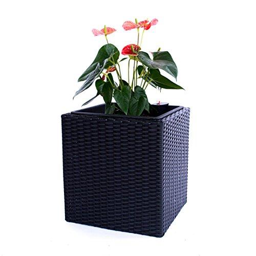 Pflanzkübel Blumenkübel Blumentopf Polyrattan Quadrat LxBxH 38x38x40cm schwarz.