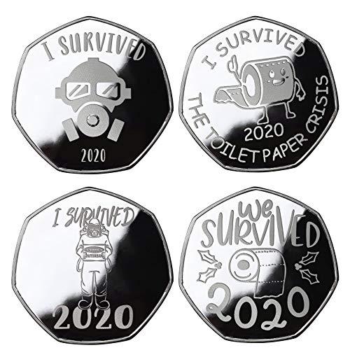 Moneta Commemorativa, Moneta commemorativa 2020 I Survived Monete Souvenir Bifacciale, Regali per Amici Famiglia Collezionisti