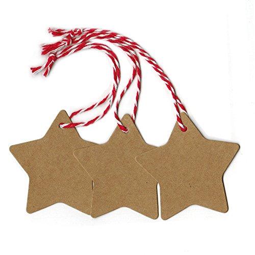 Doutop Geschenkanhänger Weihnachten Anhänger für Weihnachtsgeschenk Adventskalender Stern Geschenk Etiketten 100tlg. Gift Tags mit 2000cm Rot Baumwollkordel