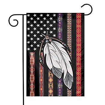 YANGHOME Native American Flag Indian Black Tribal Vintage USA Flax Nylon Burlap Linen Fabric Garden Flag Farmhouse Decorations Mailbox Decor Welcome Sign 12x18 Inch Small Mini Size Double Sided