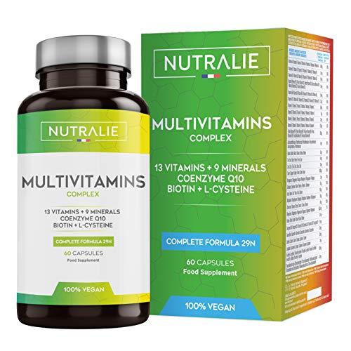 Multivitamines et Minéraux 29 Nutriments Essentiels | Complexe de Vitamines Vegetaliènne A, B, C, D, E, K, Biotine, L-Cystéine, Coenzime Q10 et 9 Minéraux | 60 Gélules | NUTRALIE