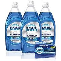 3-Pack Dawn Platinum Dishwashing Liquid Dish Soap 24oz + 2-Count Non-Scratch Sponge