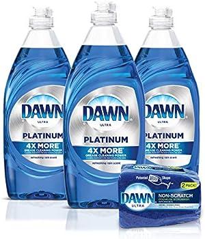 3-Pack Dawn Platinum Dishwashing Liquid Dish Soap + 2-Count Sponge