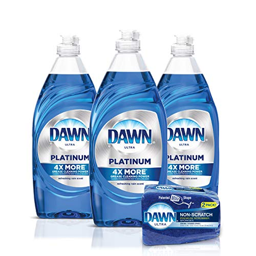 Dawn Platinum Dishwashing Liquid Dish Soap (3x24oz) + Non-Scratch Sponge (2 Count), Refreshing Rain, 1 Set