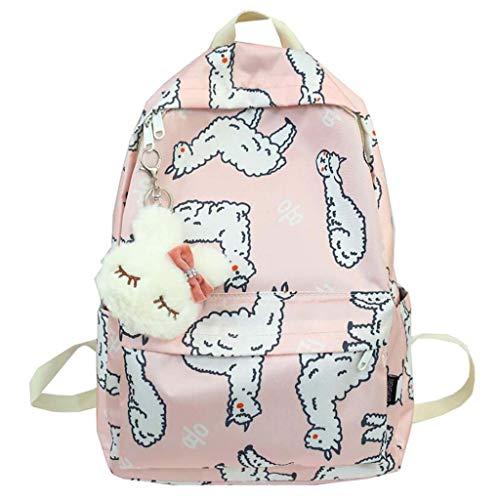 LLYDIANMochila Junior para Niños 3D Camello de alpaca de color rosa portátil mochila de viaje mochila, bolso de escuela de las mujeres de camping al aire libre y los hombres y adecuada for portátil de