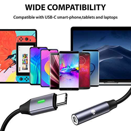 USB C to 3.5mm Dongle Adapter, Stouchi USB C Headphone Audio Jack Adapter Type C to 3.5mm Adapter (New Version)Hi-Fi DAC Chip for Note10, Note10+, Pixel 4/3XL/2XL, iPad Pro 2018, One Plus 7 2Pack-Gray