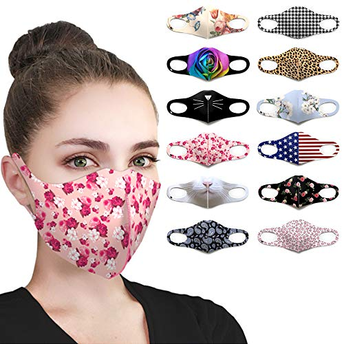 Pink Floral Design Face Mask Fashion Fabric Cute Flower Printed Patterns UV Protection Lightweight Breathable Washable Reusable Adjustable Cloth Cover Masks for Women Men Teens(Pink Floral)
