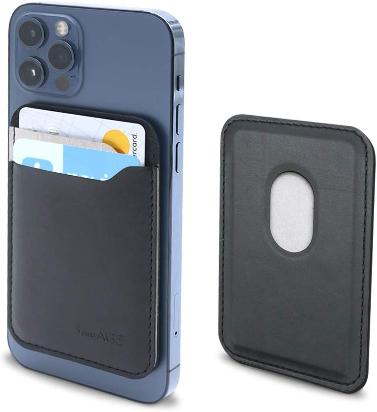 SenseAGE Arrow Magnetic Phone Wallet Designed for Mag-Safe, Ultra-Slim Card Holder, Phone Card Sleeves, Minimalist Phone Pocket, Compatible with iPhone 13/13 Pro Max/13 Pro/13 mini/12, Black