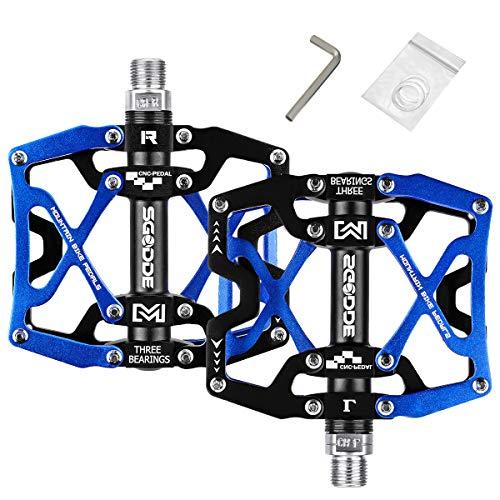 SGODDE Pedales, Pedales de Bici CNC Aleación de Aluminio Rodamiento Sellado y Pedal Antideslizante para Bicicletas de Montaña 、 Bicicletas de Ciudad y Bicicletas de Carretera (Azul)