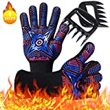 INFANZIA BBQ Gloves,Oven Gloves & Meat Claws Combo Set,1472℉ Extreme Heat Resistant, Food Grade Kitchen Grill Gloves,Non-Slip Cooking Gloves for Barbecue, Cooking, Baking, Welding, Cutting