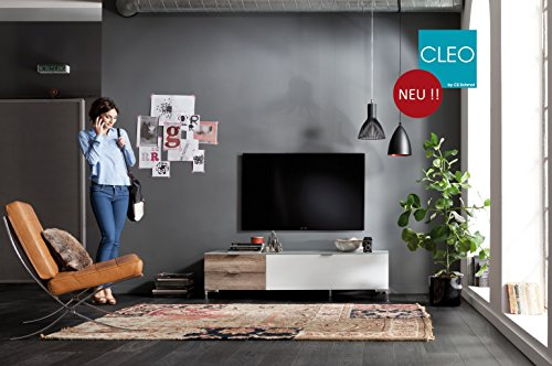 CS Schmal TV-Board Cleo Typ 12 + Hängeregal | In schwarz / schwarzglas 163 x 50 x 175 cm | 45.102.507/049
