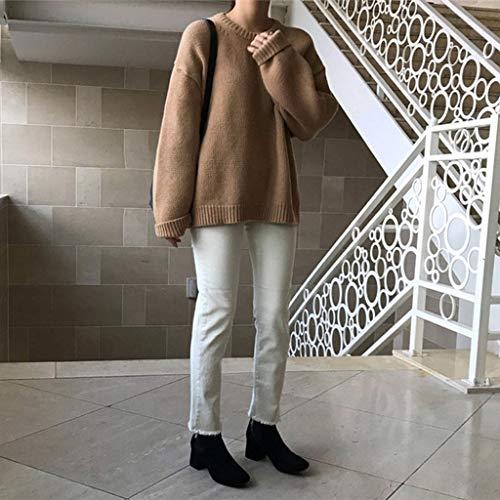 UXZDX Chic Women Fashion Irregular Retro O-Cuello de Punto Prendas de Punto de impresión Floral suéter Suave Coreano Jerseys Top