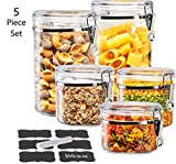 LE'RAZE Beautiful 5-Piece Airtight Acrylic Canister Set For Kitchen Counter, Food Storage Container For Pantry, Tea, Sugar, Coffee, Candy, Flour Canisters with Locking Clamp Lids And Labels+Chalk.