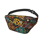 Mexican Sugar Skulls Sling Bag Fanny Pack Crossbody Shoulder Backpack for Men Women Lightweight Casual Chest Bags Waist Daypack for Travel Gym Sport Hiking Cycling