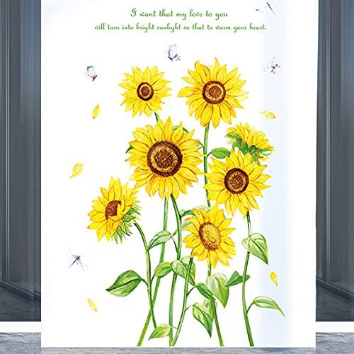 Adesivi murali a grappolo di girasole, Decalcomanie da muro di fiori da giardino gialli per camera da letto Soggiorno Nursery Cucina TV Sfondo Wall Art Decor Decorazioni per la casa
