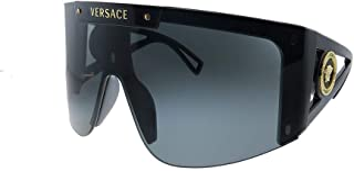 Versace VE 4393 GB1/87 Black Plastic Shield Sunglasses Grey Lens