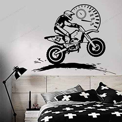 wZUN Motocross Rider velocímetro calcomanía Vinilo Pegatina Motocicleta hogar niño habitación 57X52cm
