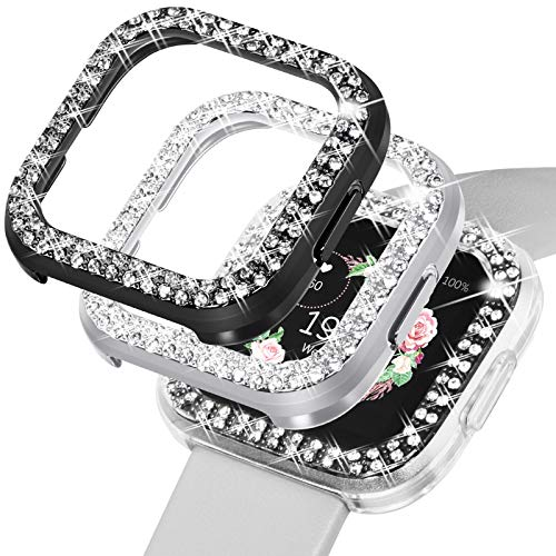 Wingle para reloj Fitbit Versa 2, funda protectora para mujer brillante, marco compatible con Fitbit...
