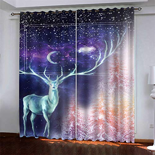 SSHHJ Waterproof Blackout Curtains 3D Digital Printing Pattern Curtain Curtains For Easy Installation Without Punching 2 Pieces