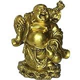 Fengshui latón hecho a mano Riendo Buda Maitreya Carring bolsa de dinero estatua decoración del hogar Lucky regalo BS259