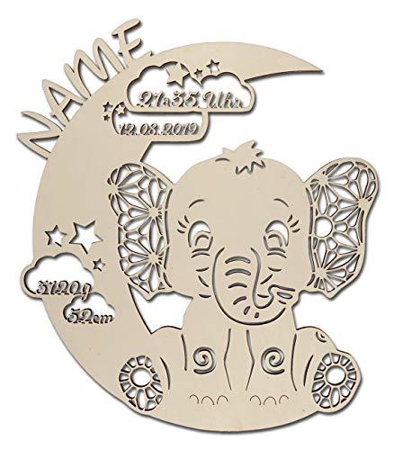 Geburtsgeschenke Baby Kinder besondere individuelle die Schönsten Besten Geschenke zur vor nach der Geburt und Taufe Taufgeschenke für Mädchen Junge Paten Tante Großeltern welches (Elefant auf Mond)