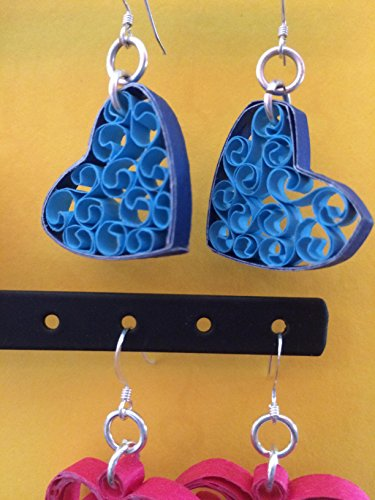 Handmade Blue Paper Filigree Heart Dangle Earrings, Quilled Jewelry