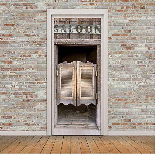 Saloon Tür Wandaufkleber Schlafzimmer Wandbild Diy Home Decor Poster Tür Pvc Label 3D Aufkleber 77x200 Cm Türaufkleber