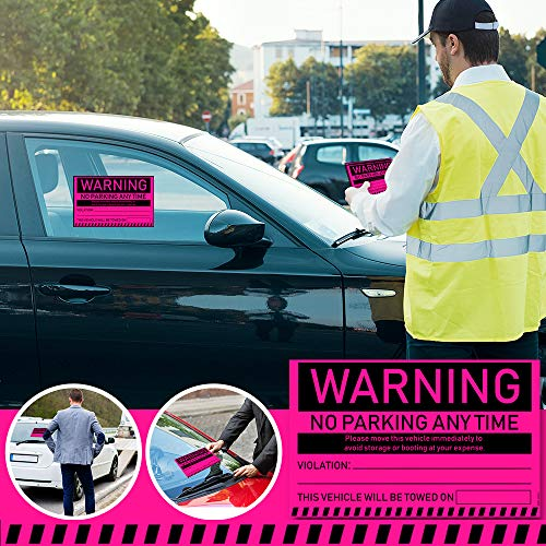 """No Parking Violation Stickers Hard to Remove (Pink) 10-Pack Towing Tags for Illegally Parked Vehicles in Your Lot - Super Sticky Car Permit Notices for Bad or Careless Parking 8"""" x 5"""" by MESS Photo #3"""