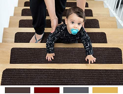 EdenProducts Non Slip Carpet Stair Treads 2 Count 8 x30 Brown Pre Applied Adhesive product image