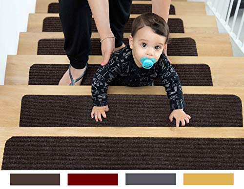 "EdenProducts Non-Slip Carpet Stair Treads, 15 Count 8""x30"" Brown, Pre-Applied Adhesive"