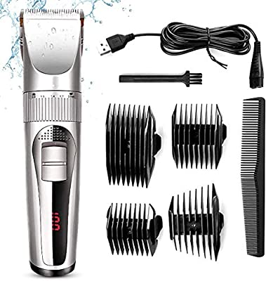 USB Electric Hair Trimmer Professional Men's Hair Clipper Grooming Low Noise Titanium Ceramic Blade Barber Grooming Cutter Kit for Men Women Baby(not Include Oil Bottle)