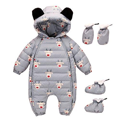 LSERVER- Piumino bambino invernale Tute da neve per neonato Tuta da neve Giacca bambina Tutina neonato con Guanti e copertura del piede 0-12 mesi,3 pezzi