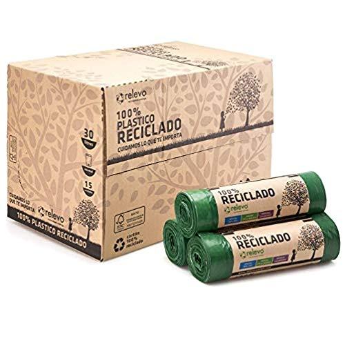 Relevo 24 Rollen Müllbeutel Recycelter Beutel für normalen Eimer 30 Liter, 15 Stück