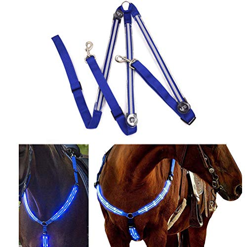 Insuwun Horse Breastplate Collar - Best High Visibility Tack for Horseback Riding Chest Strap Safety Gear in Night Equipment for Horse