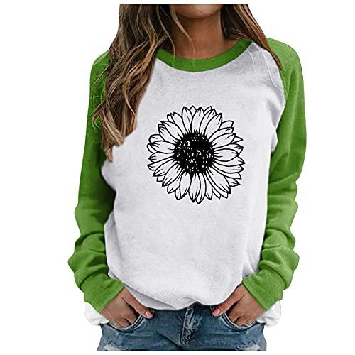 Julhold Sweatershirt para mujer patrón especial impresión contraste color manga larga sólido casual blusa suéter abrigo, Verde-f4, M