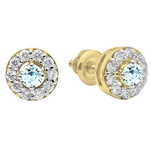 Dazzlingrock Collection Pendientes de tuerca redondos de 10 quilates con piedras preciosas y diamantes, oro amarillo