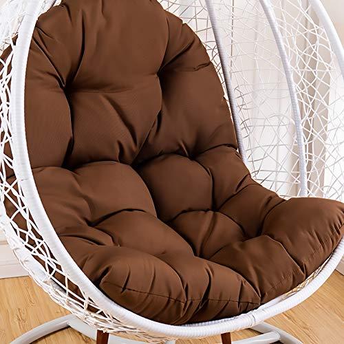 SKRCOOL Hängekorb Schaukel Chair Kissen Wicker Rattan Ei Kissen Auflage Dick Nest Schaukel Kissen Auflage Zu Hanging Chair Terrasse Schaukelstuhl Dunkelbraun 95x125cm (37x49inch)