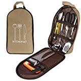 Camp Kitchen Utensil Organizer Travel Set,Portable 8 Piece BBQ Camping Cookware Utensils Travel Kit with Water Resistant Case
