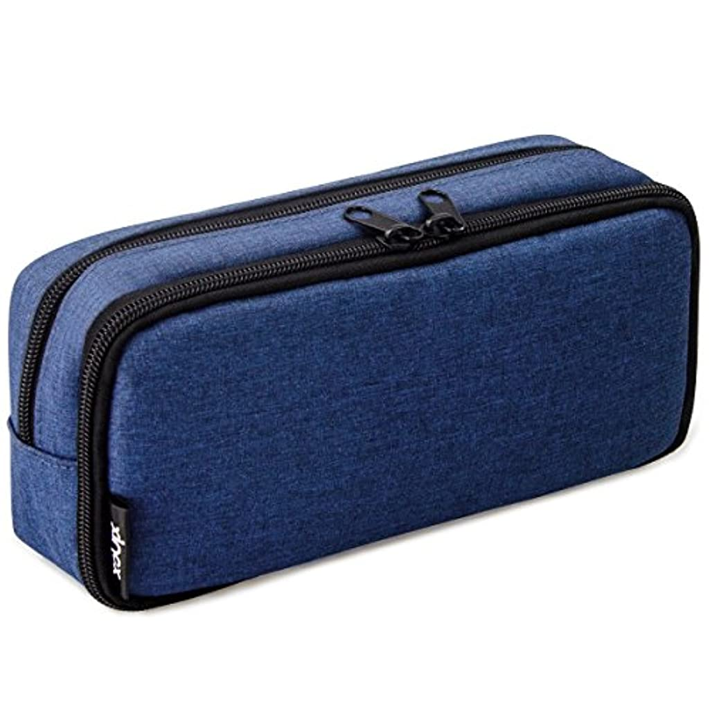 Simple Large Pencil Pouch Big Cosmetic Pouch Bag Pen Bag,Stationery Pouch,Multi-Colored Pencil case,Large Capacity Zipper Pencil Bag (Navy Blue)