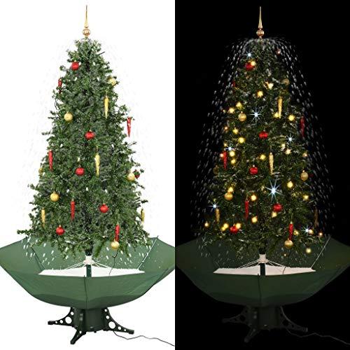 vidaXL Schneiender Weihnachtsbaum mit Schirmfuß Schneefall Kugeln LED-Lampen Tannenbaum Christbaum Kunstbaum Dekobaum Schnee Grün 190cm