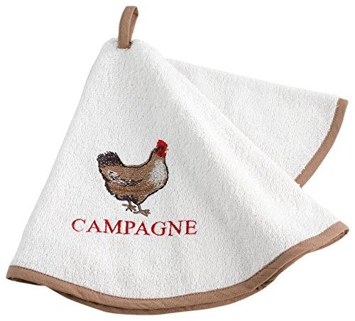 Couleur Campagne ESSUIE-Main Ronde 60 CM Eponge Brodee PICOTI 100/% Coton sans 60x60 cm