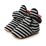 LACOFIA Zapatos de calcetín de bebé Invierno Botas Antideslizantes de Suela Blanda para bebé niño o niña Rayas Negras 6-12 Meses