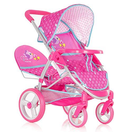 Hauck Malibu Duo Poppenwagen, tweel- en broers poppenwagen, vastzetbare voorwielen, afneembare veiligheidsbeugel, verstelbare zonnedak, 360° pirouetwielen - Birdie Pink