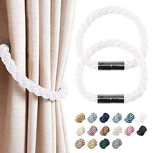 NICEEC 2 Pack Strong Magnetic Curtain Tiebacks Modern Simple Style Drape Tie Backs Convenient Decorative Weave Rope Curtain Holdbacks for Thin or Thick Home & Office Window Draperies (White)