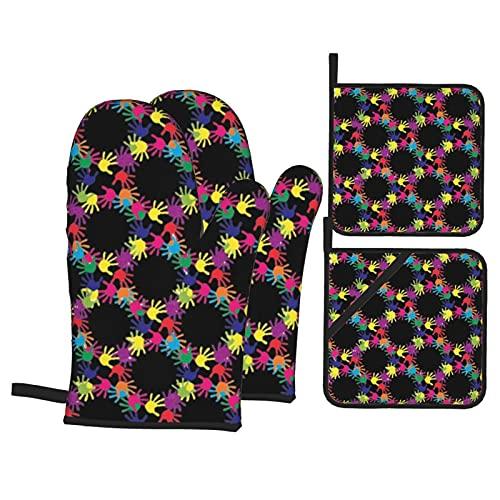 Patrón de conciencia del autismo c guantes de horno con 2 soportes para ollas, juego de guantes de cocina de tamaño universal, antiquemaduras, resistentes al calor, para microondas, horno, barbacoa
